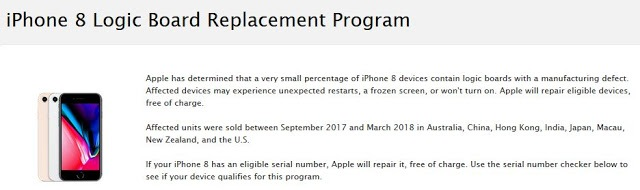 https://www.apple.com/support/iphone-8-logic-board-replacement-program/
